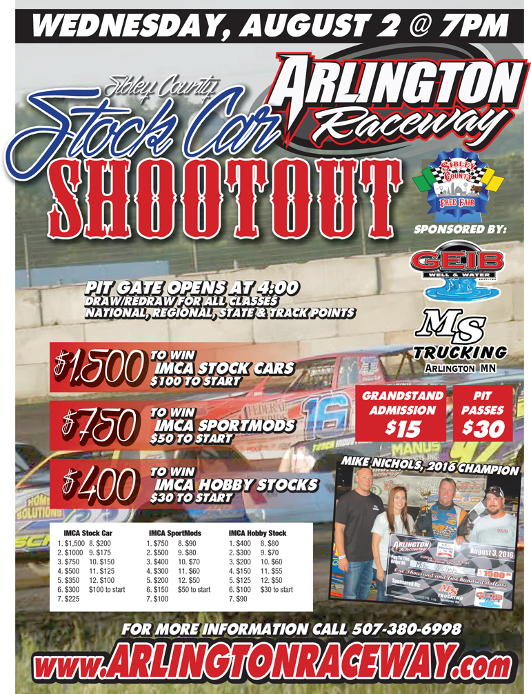 Sibley County Stock Car Shootout August 2 @ 7 PM